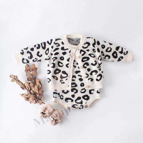 2020  Baby Leopard Print Coat+Hat Baby Hat climbing Suit