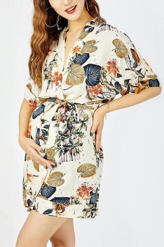 Sexy Fashion Short Sleeves Floral Print Mini Dress