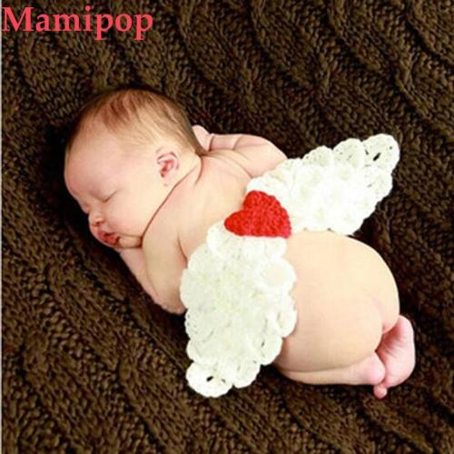 Infant 0-3 months Hand-knitted Wool Angel Wings Newborn Baby Cothes