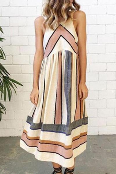 Maternity Casual Stripe Sleeveless Tea-Length Dress