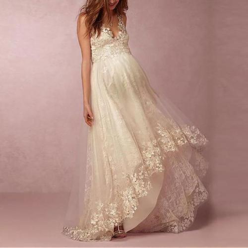 Maternity Deep V Neck Sleeveless Lace Mesh Layered Dress