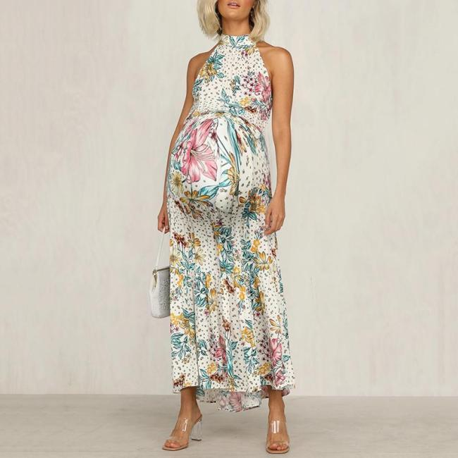Maternity Floral Pattern Hanging Neck Dress