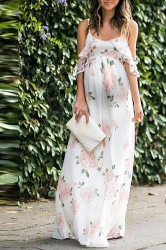 Maternity Vacation round neck flower print ruffled dress