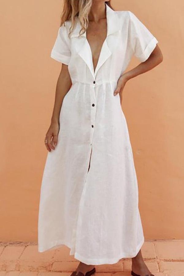 Maternity Casual V Neck Short Sleeve Pure Colour Dress