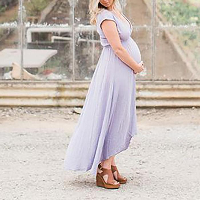 Maternity Casual V Neck Short Sleeve Maxi Dress