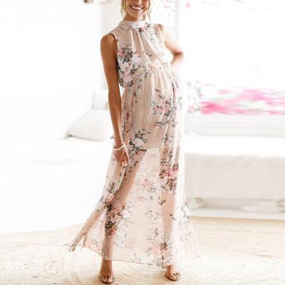 Maternity Round Collar Printing Sleeveless High Forked Dress