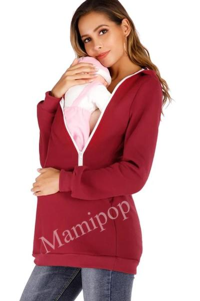 Maternity 2-in-1 Kangaroo Mother Zipper Hooded Casual Sweater Coat