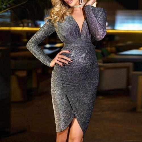 Maternity Elegant V-Neck Long Sleeve Mini Evening Gown