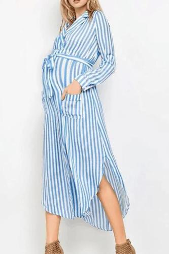 Maternity Notched Lapel Stripe Casual Dress