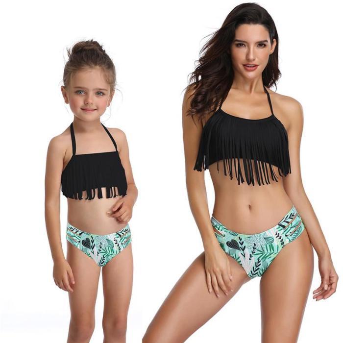 2020 New Parent-Child Swimsuit Fringe Split Family Swimsuit