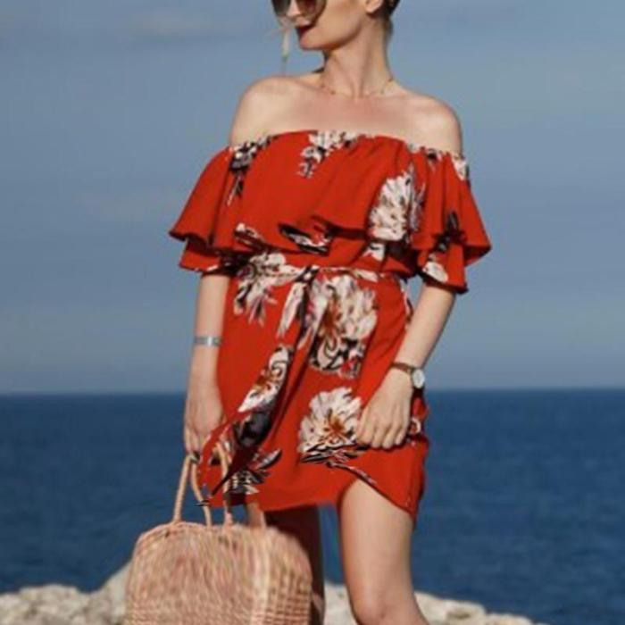 Maternity Off The Shoulder Printed Dress