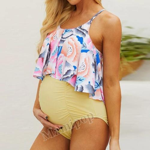 2020  floral split triangle two piece maternity Swimsuit