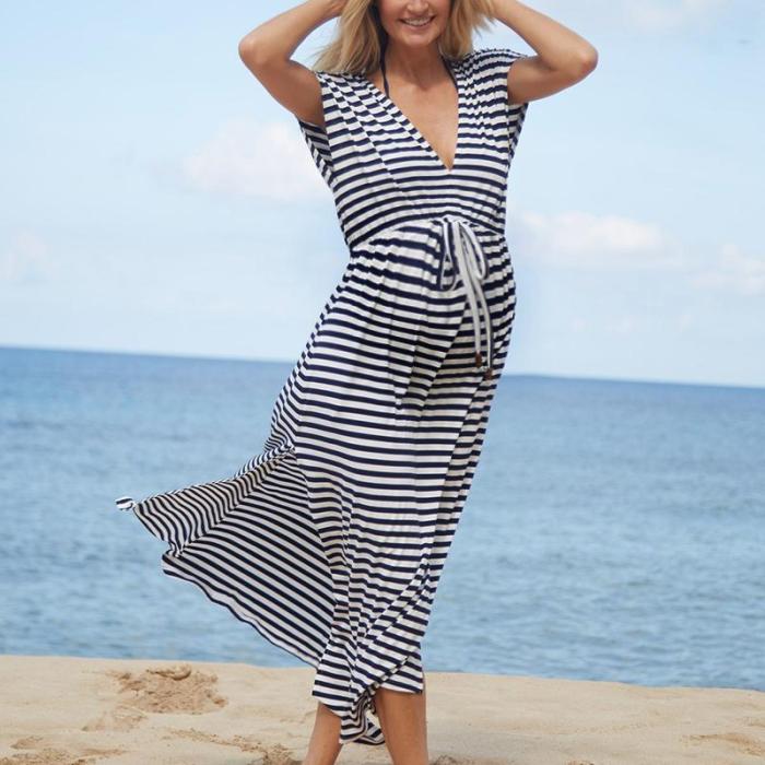 Maternity Casual V Neck Short Sleeve Stripe Dress