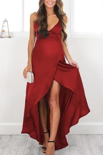 Maternity Sexy V-Neck Sling Strap Plain Formal Dress