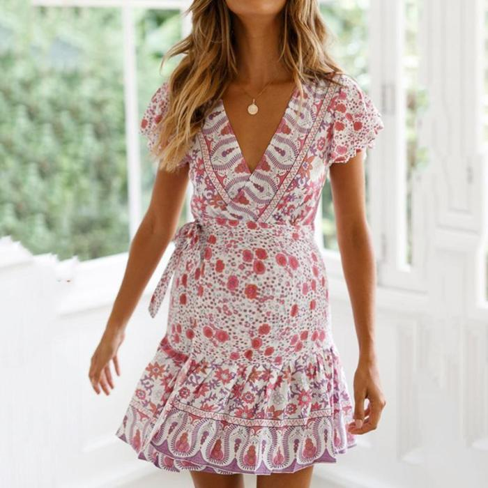 Maternity Casual Deep V-Neck Short Sleeve Printed Dress