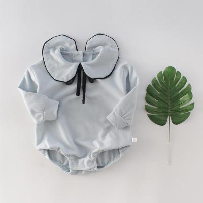 Girl Baby's Bow Tie Lapel Wrap Up Hip Suit baby Long Sleeve One Piece Creeper