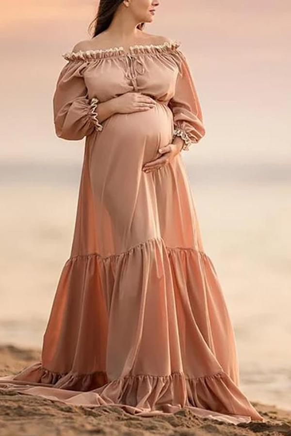 One-neck solid color maternity dress
