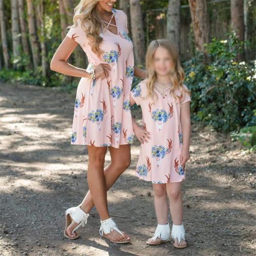 Mom Girl Short Sleeve Print Matching Dress