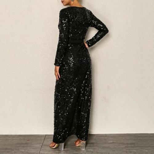 Maternity Fashion V-neck Solid Color Sequined Split Dress