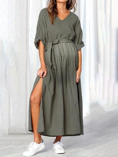 Maternity Cute V Neck Halflong Sleeve Pure Colour Dress
