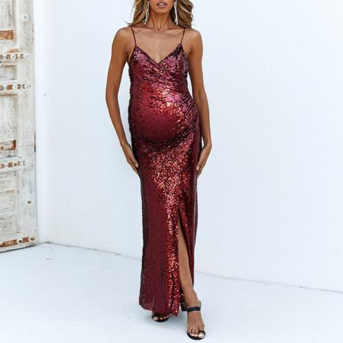Maternity Elegant Slit Split Long Dress
