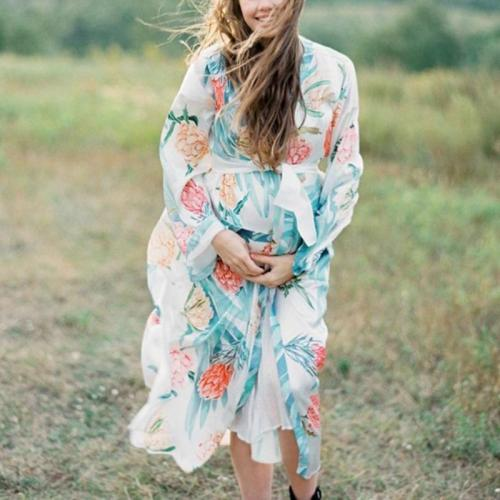 Maternity Casual Printed V Neck Dress