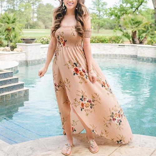 Floral Print Front Slit Off Shoulder Maxi Dress