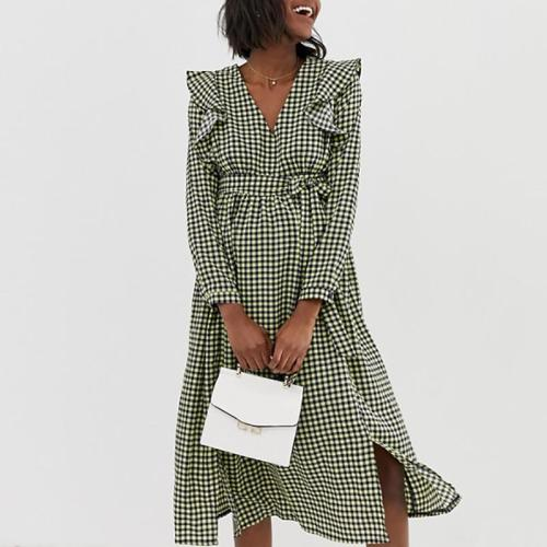 Maternity Casual V-Neck Splicing Ruffled Long-Sleeved Lace Black-Green Plaid Dress
