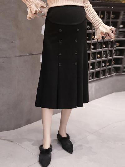 Maternity solid color button skirt