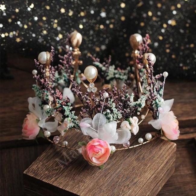 Baroque Flower Crown With Earrings Bride Tiara Headwear