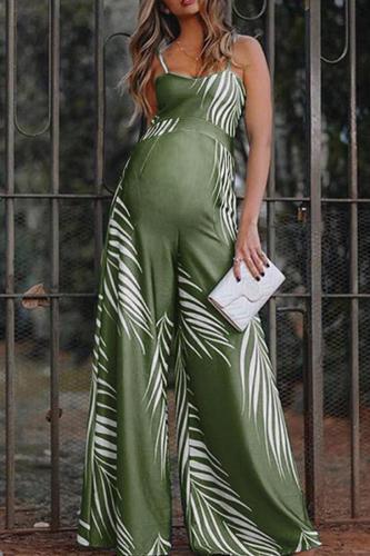 Maternity Commuting V-Neck Sleeveless Printed Colour Jumpsuit