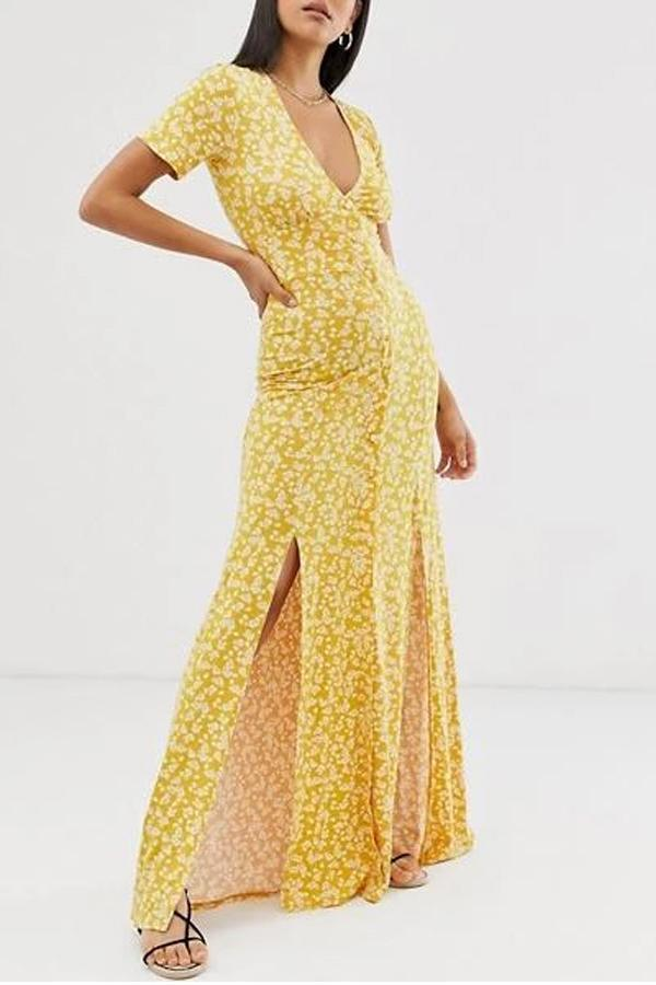 Maternity Split Printed Long Dress