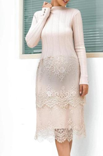 Lace stitching knit maternity dress
