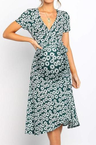 Maternity V-Collar Short-Sleeved High-Waisted Irregular Dress