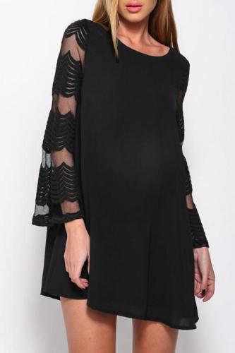 Maternity Plain O-Neck Lace Patchwork Loose Dress