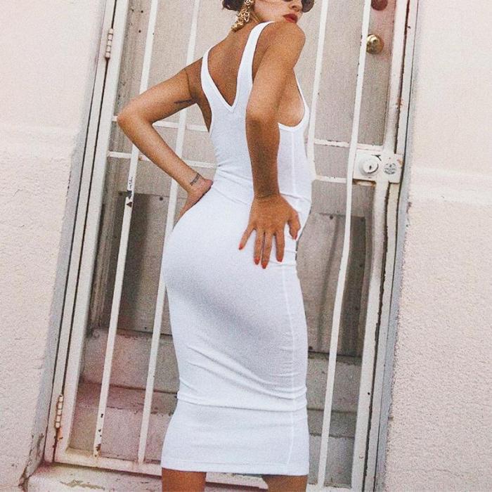 Maternity Solid Color Vests Midi Dress