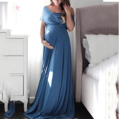 Maternity Sexy Deep V Neck Pure Color Off Shoulder Dress