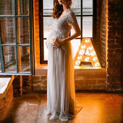 Maternity fashion v-neck sequin stitching mesh short-sleeved dress