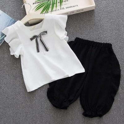 2020 summer new fly sleeve T-shirt + Lace shorts two piece suit