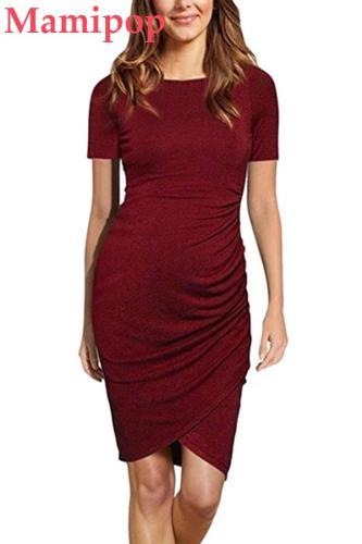 Female Nursing Solid Round Neck Short Sleeve Slim Fit Dress Clothes