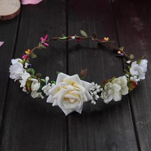 Bohemia Headdress Rose with Leaves hairband Bride Bride Bride flower girl Wedding Garland