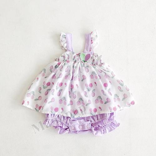Summer Tulip Printed ha Skirt Cotton Net  Triangle Climbing Dress