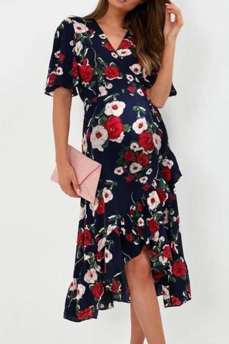 Maternity retro floral printed halflong sleeves irregular dress