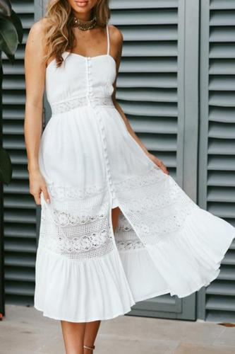 Maternity Lace Single Breasted Lace Bow Dress