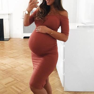 Maternity Off Shoulder Bodycon Dress
