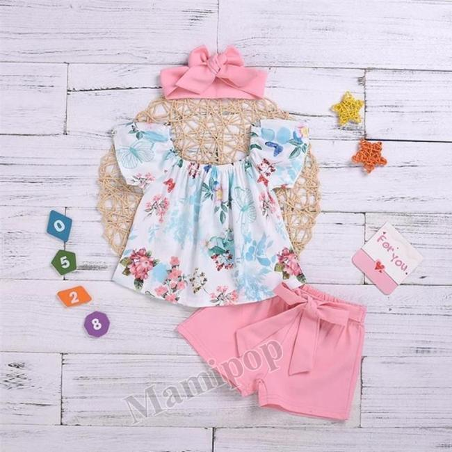 Baby Girls Clothes Flower Short Sleeve Clothes Outfit T-shirt Tops+ Bow Knot Shorts Set
