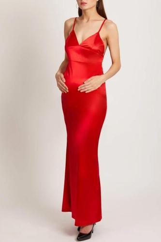Maternity Red Plain Sleeveless Evening Dress