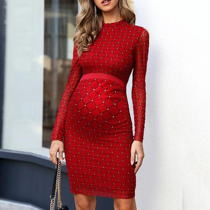 Maternity Elegant Round Neck Plaid Long Sleeve Dress