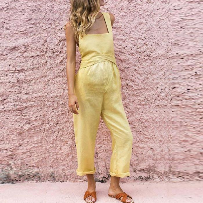 Maternity Sexy Boat Neck Sleeveless Pure Colour Off-Shoulder Jumpsuit