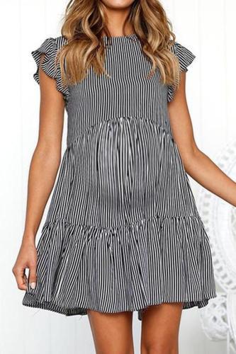 Maternity O-Neck Stripe A-Line Casual Dress